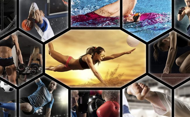 Sport collage. Swimming, soccer, fitness, bodybuilding, volleyball beach, fighter and basketball players. Mixed image